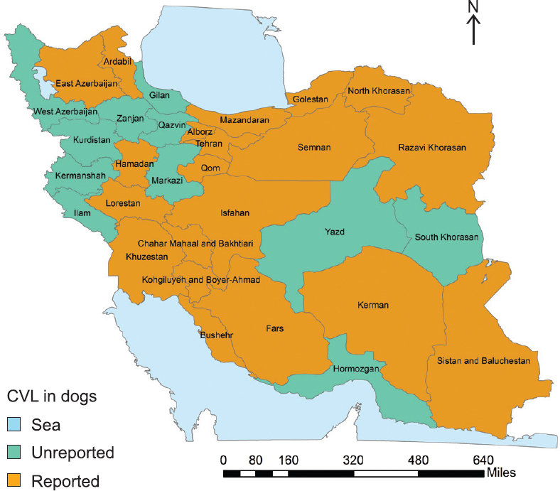 Figure 5: Geographical distribution of <i>L. infantum</i> infections in dogs, Iran 1982&#8211;2017.