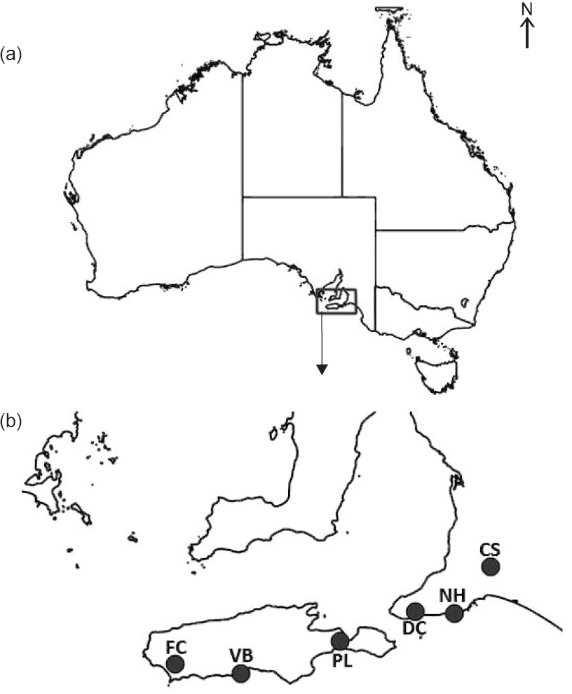Figure 1: (a) Location of the Fleurieu Peninsula (box) in South Australia; and (b) Location of the conservation parks (black dots) where tick samples were collected within the study region. FC— Flinders Chase; VB—Vivonne Bay; PL—Pelican Lagoon; DC—Deep Creek; NH—Newland Head; and CS—Cox Scrub.