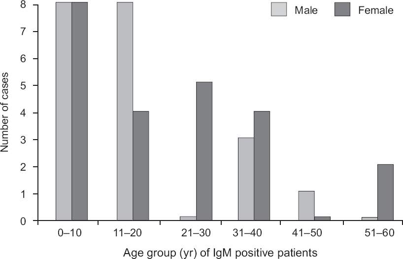 Figure 2: Age- and gender-wise distribution of dengue IgM antibody positive patients during the outbreak.